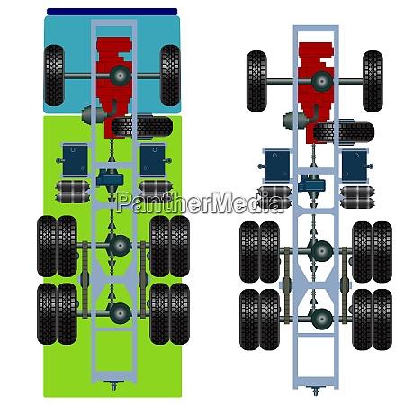 truck, suspension, , top, view., vector, illustration - 26470370