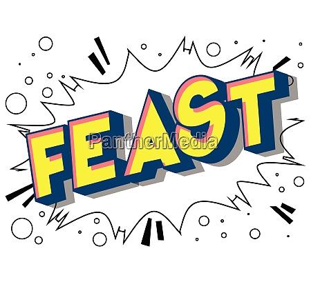 feast comic book style phrase