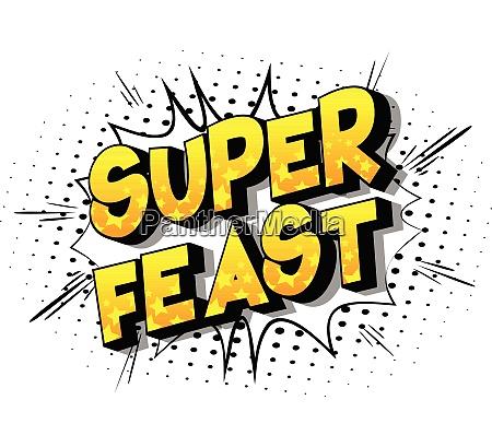 super feast comic book style