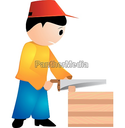 vector illustration of a carpenter with