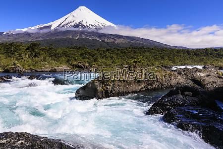 petrohue rapids snow capped conical osorno