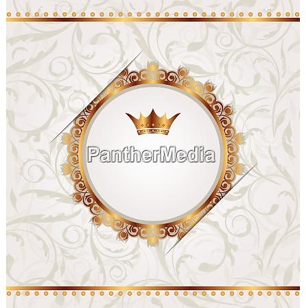 illustration golden vintage with heraldic crown