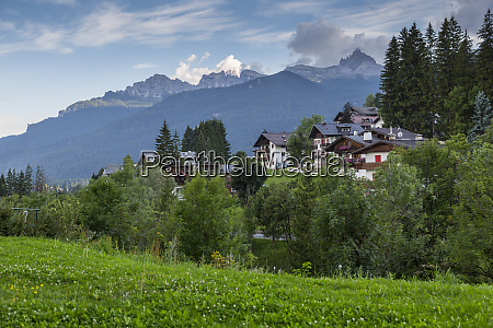 view of mountains and traditional houses