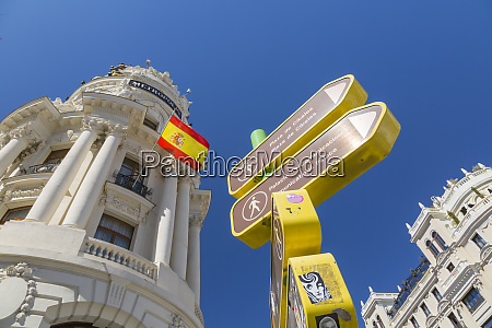 view of sign and metropolis building