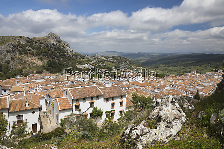 view over andalucian white village grazalema