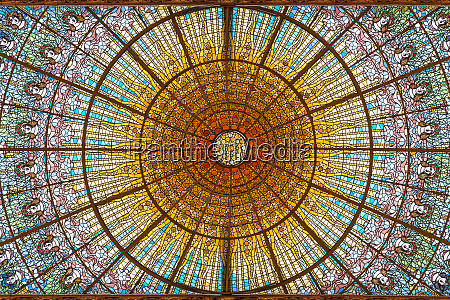 stained glass skylight in palace of