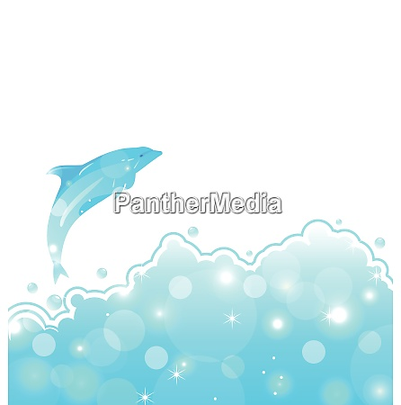 illustration abstract water card with dolphin
