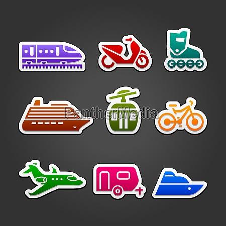 set simple transportation color icons