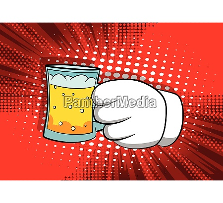 cartoon hands holding a beer
