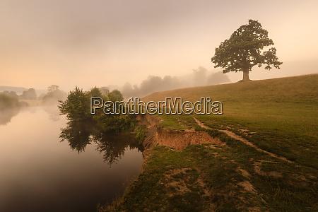 early autumn fall mist dawn river