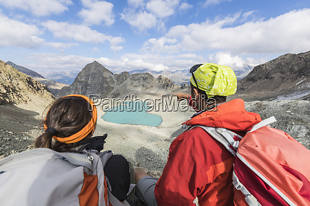 hikers at lej lagrev during summer