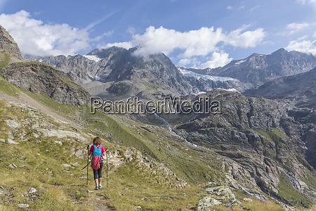 hiker on path sentiero glaciologico with