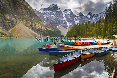 tranquil setting of rowing boats on