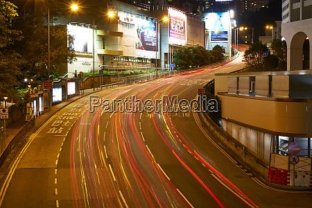 car light trails on a busy