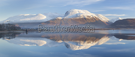 snow capped ben nevis reflecting on