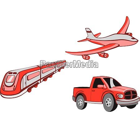 vector illustration of transport cartoon