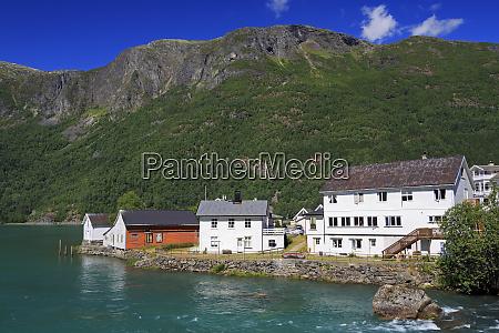 buildings and eidselvi river skjolden village