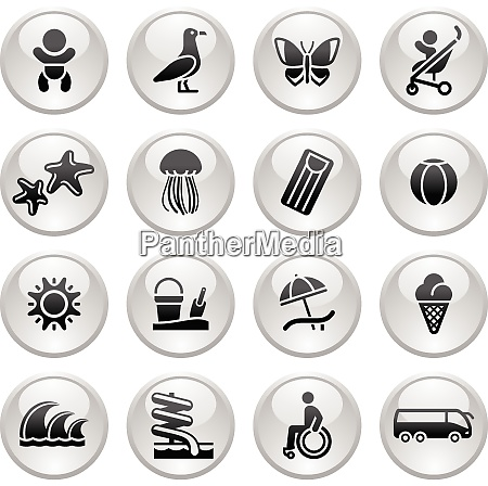 tourism recreation vacation icons set