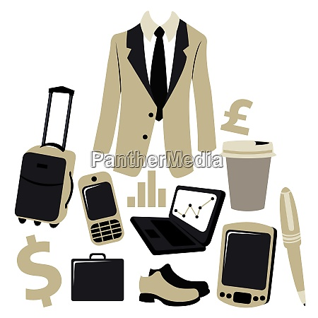 vector illustration of bussiness man accessories