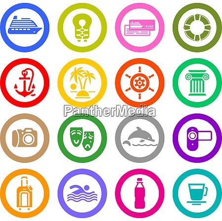 travel vacation recreation icons set