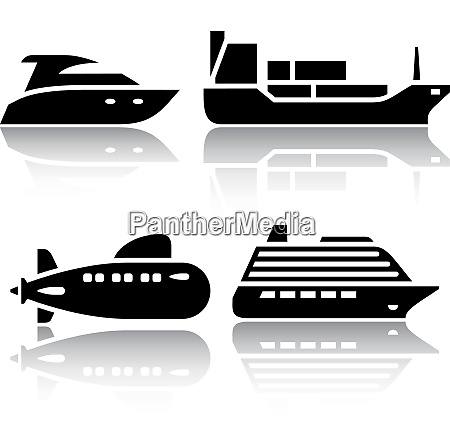 set of transport icons water