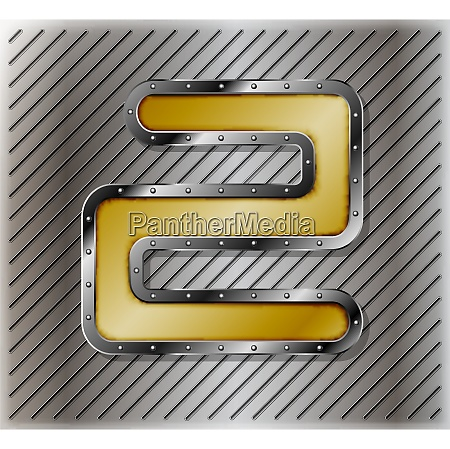 metallic number with rivets on a