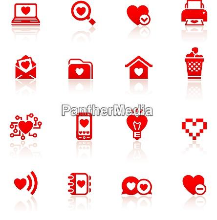 set valentines day red symbols