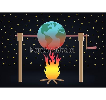 global warming illustration planet earth roasting