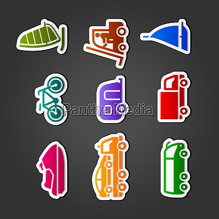 set simple stickers color transport