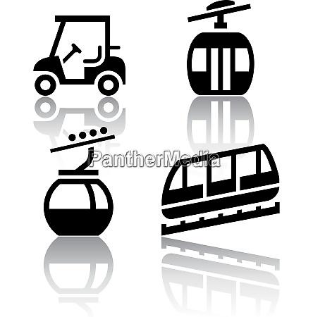 set of transport icons recreation