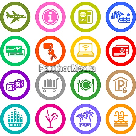 recreation travel vacation icons set