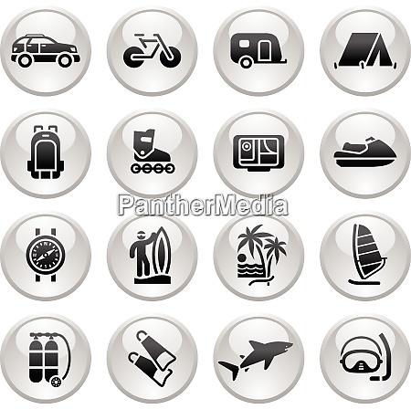 vacation recreation travel icons set