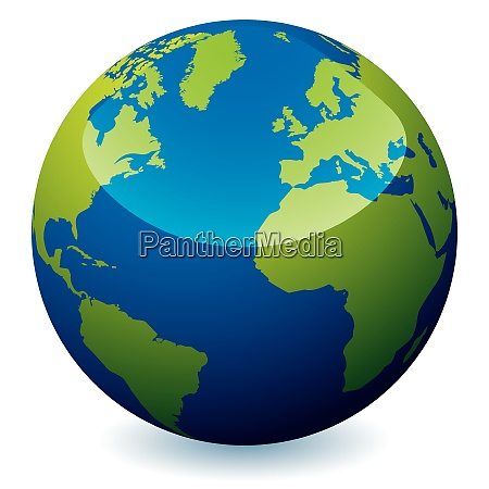 real world earth icon with blue