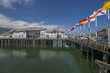 view of flags on stearns wharf