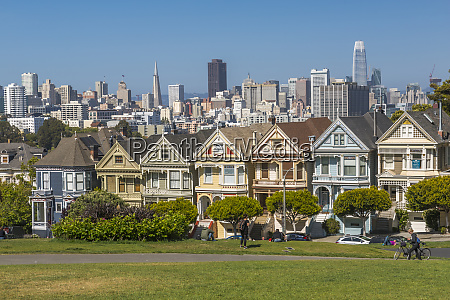 view of painted ladies victorian wooden