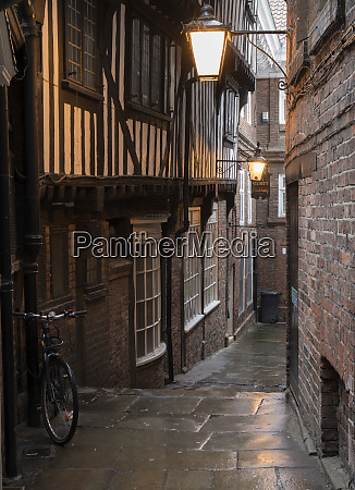 antiquated timber fronted buildings and narrow