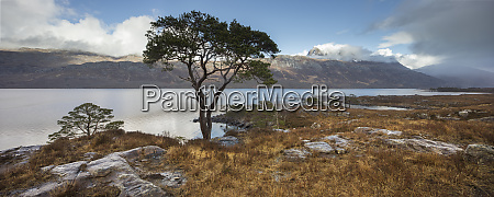 stitched panoramic of loch maree and