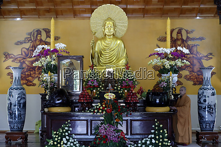main altar with buddha statue and