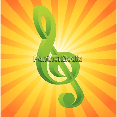 g clef on orange background with