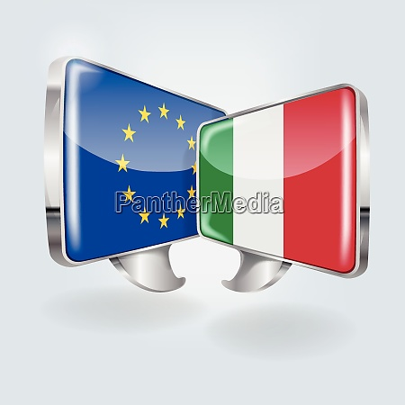 speech bubbles with europe and italy