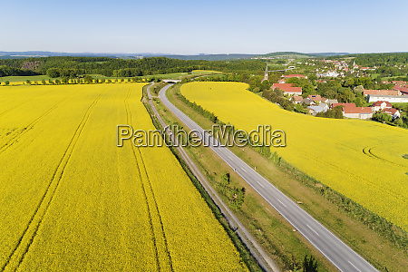 aerial view of rape seed fields