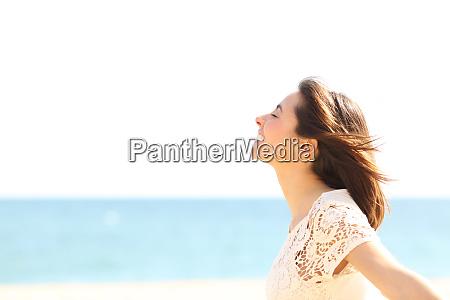 smiley lady breathing fresh air on
