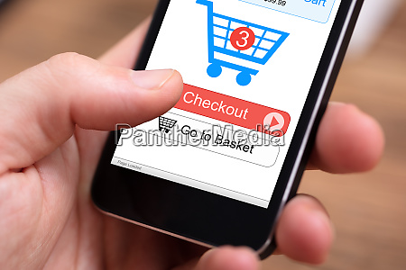 person using online shopping application