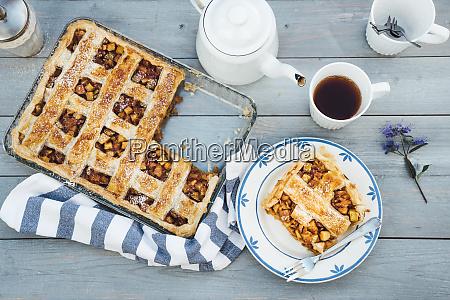 homemade apple tart on plate and