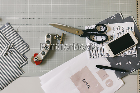 acessories of fashion designer on desk