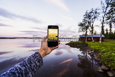 sweden lapland person taking a