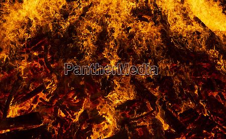 blazing log fire close up