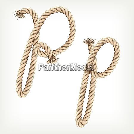 rope alphabet letter p