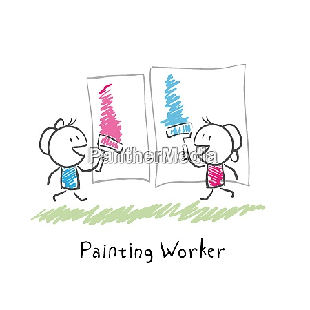 two people paint rollers illustration