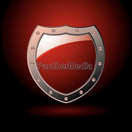 bright red secure sheild with screws